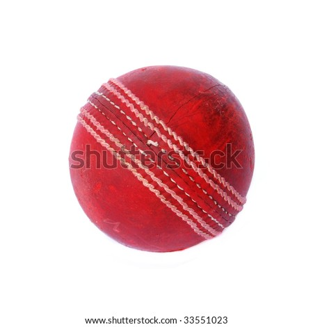 Old cricket ball isolated on white background #33551023