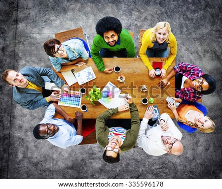 Group of Diverse Cheerful Designers Looking Up Concept #335596178
