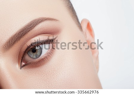 Natural make-up eyes close-up with the band. #335662976