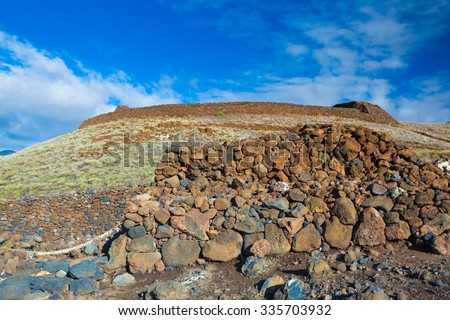 The ruins of the major Hawaiian temple at the Pu'ukohola Heiau National Historic Site, Big Island, Hawaii #335703932
