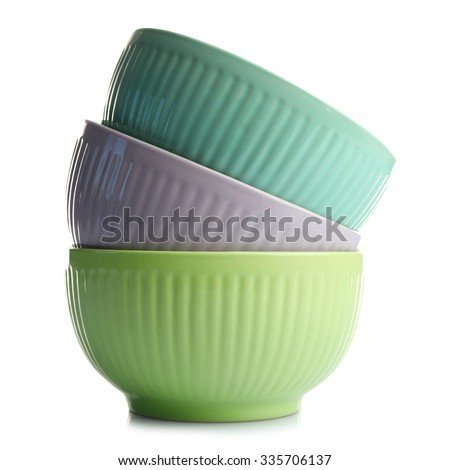 Three empty stacked ceramic bowls, isolated on white #335706137
