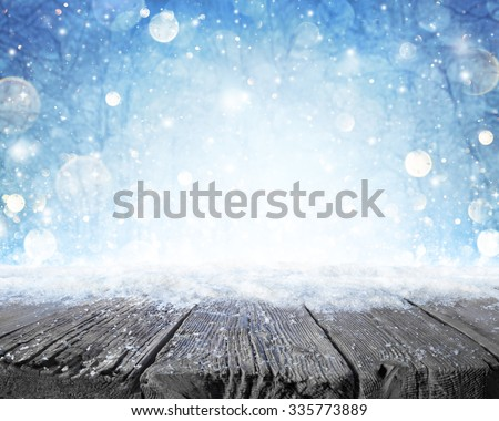 Snowy Plank With Wintery Forest Background  #335773889