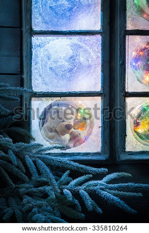 Teddy bear in frozen window for Christmas with tree and lights #335810264