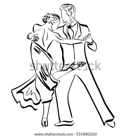 Man and woman , couple, dance, sketch, vector #335880260