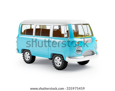 retro safari van in cartoon style isolated on white