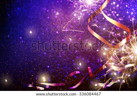 Party Background with lights and serpentine