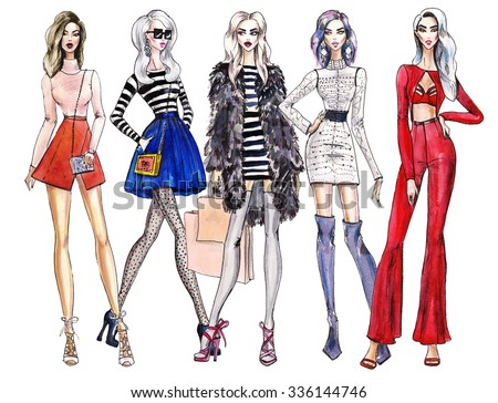 illustration fashionable girls. shopping. fashion illustration. fashion banner. collage. art sketch of beautiful young woman in dress.Street fashion. woman cocktail dresses illustration