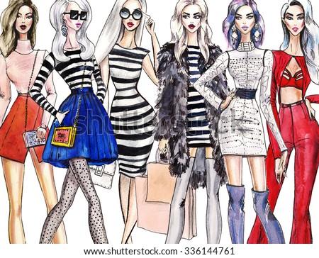 illustration fashionable girls. shopping. fashion illustration. fashion banner.collage. art sketch of beautiful young woman in dress. Street fashion.