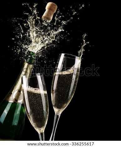 Popping Champagne And Toast Of Midnight #336255617