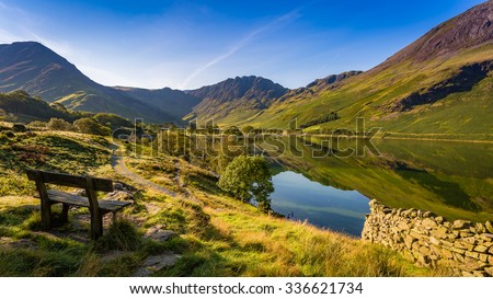 Early morning at Buttermere, The Lake District, Cumbria, England Royalty-Free Stock Photo #336621734