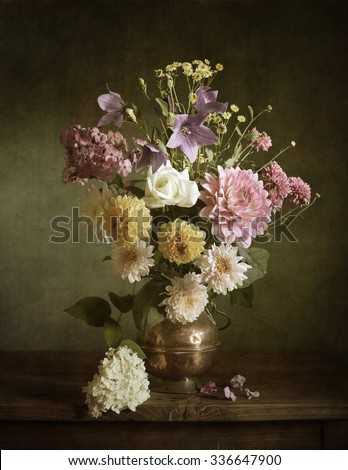 Still life with dahlias in a copper vase (textured for artistic effect) #336647900
