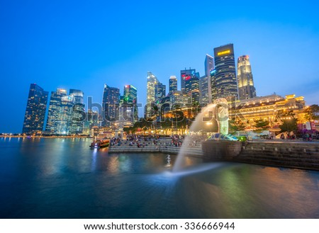 SINGAPORE - OCTOBER 15, 2015: Marina Bay and the Central Area or Central Business District (CBD). The Central Business District contains the core financial and commercial districts of Singapore. #336666944