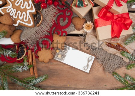 Gingerbread cookies with christmas  decoration #336736241