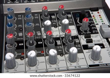 Professional Audio / Disk Jockey / Karaoke Mixer Closeup #33674122