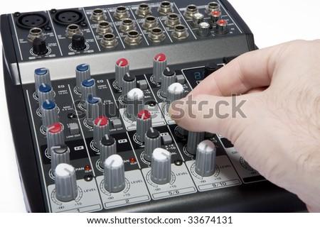 Professional Audio / Disk Jockey / Karaoke Mixer with Hand Adjustment #33674131