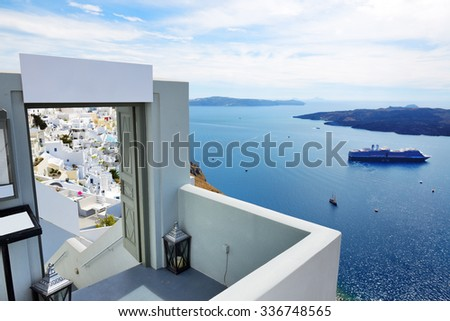 The entrance in restaurant and sea view terrace, Santorini island, Greece #336748565