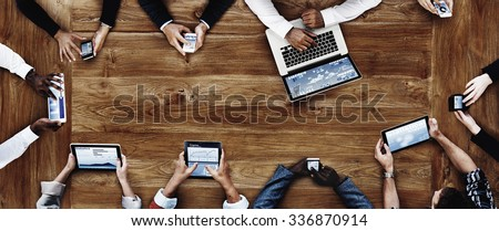 Business People Working with Technology Concept Royalty-Free Stock Photo #336870914