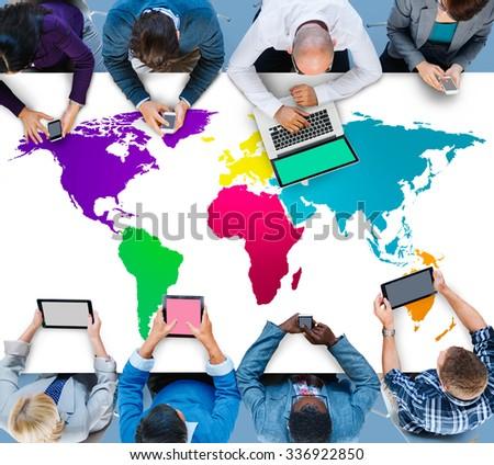 World Global Cartography Globalization Earth International Concept #336922850