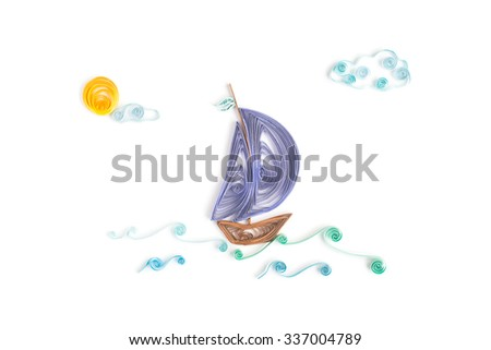 Creative paper seascape on a white background. Quilling  #337004789