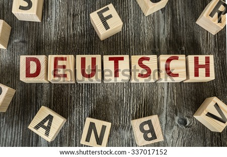 Wooden Blocks with the text: German (in German)