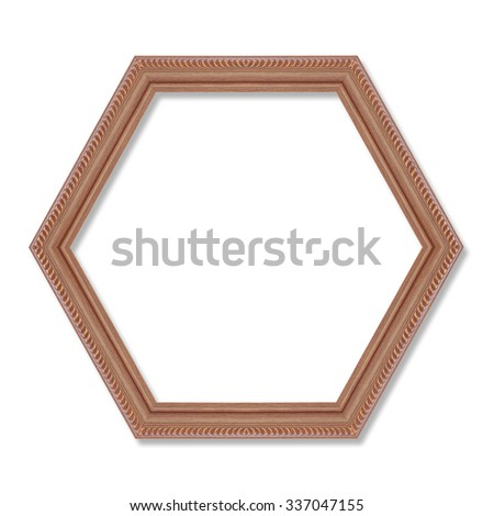 wooden hexagonal frame isolated on white background.