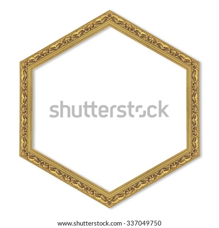 hexagonal gold frame isolated on a white background.