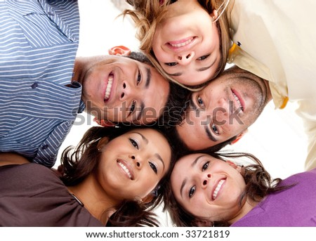 Group of friends with their head together in the middle isolated #33721819