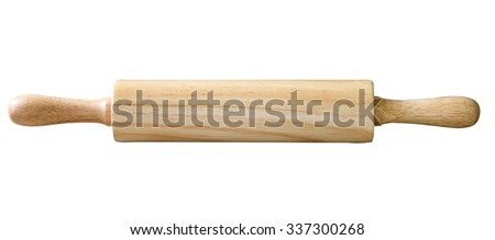 Wooden rolling pin, isolated on white background Royalty-Free Stock Photo #337300268