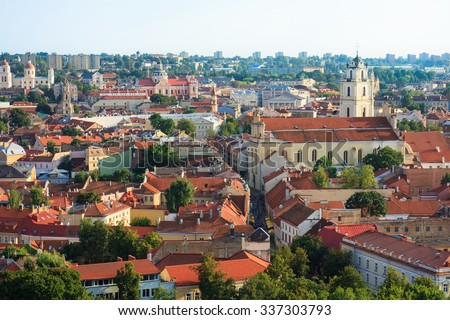 Vilnius town aerial view from Gediminas castle tower on Vilnius, Lithuania. Latvia #337303793