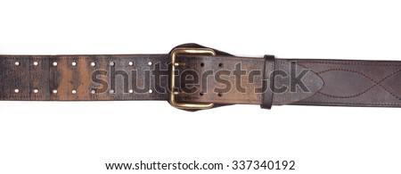 Old leather belt isolated on white Royalty-Free Stock Photo #337340192