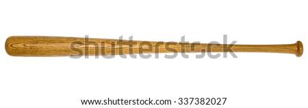 Closeup of baseball bat isolated on white background Royalty-Free Stock Photo #337382027