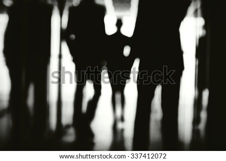 Business people walking down corridor of office center #337412072