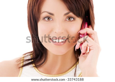 picture of happy woman with cell phone #33743188