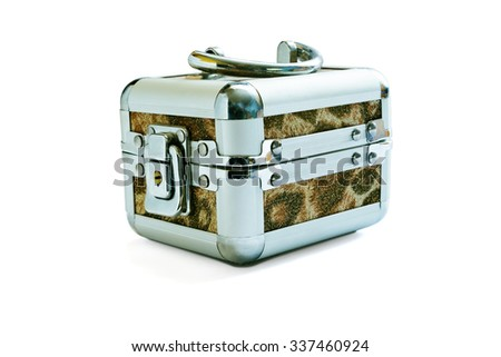 The metal casket with the lock isolated on a white background #337460924