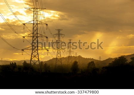 High voltage tower on sky background #337479800