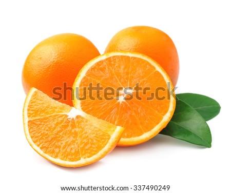 Sweet orange fruit with leaves on white #337490249