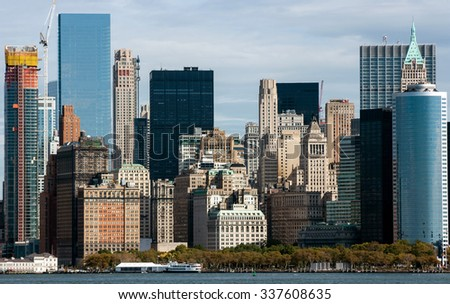 NEW YORK CITY, USA - OCOBER 14, 2015: Downtown Manhattan, New York City, USA