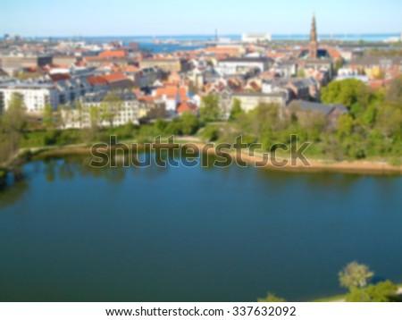 A blurred out of focus background effect, copenhagen denmark cityscape skyline #337632092