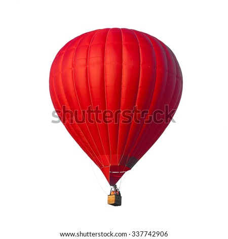 Hot Air Red balloon isolated on white background