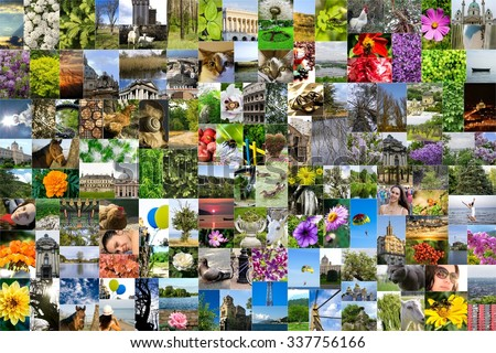 Symmetric mosaic mix collage of 200 photos of life style, people, different places, landscapes, flowers, insects, objects, sport and animals shot by myself during Europe travels