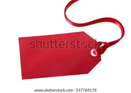Red gift tag or label isolated on white background