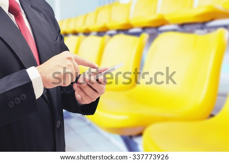 business man buy ticket on line concept