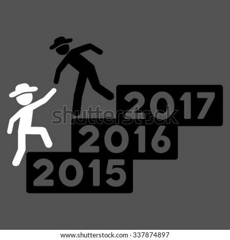 Person Annual Help vector icon. Style is bicolor flat symbol, black and white colors, rounded angles, gray background. #337874897