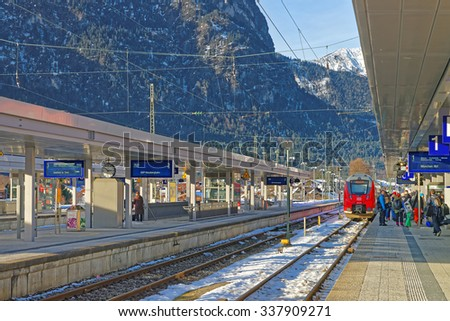 GARMISCH-PARTENKIRCHEN, GERMANY - JANUARY 06, 2015: View of the Garmisch-Partenkirchen train station on a sunny winter day. Bavaria. Germany                           #337909271
