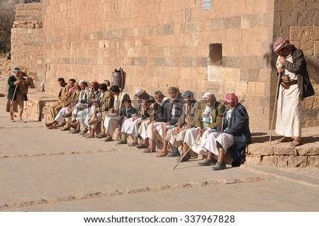 Thula, Yemen - Dec 29: Men sit on the main square of Thula on December, 29, 2009. Thula, Yemen #337967828