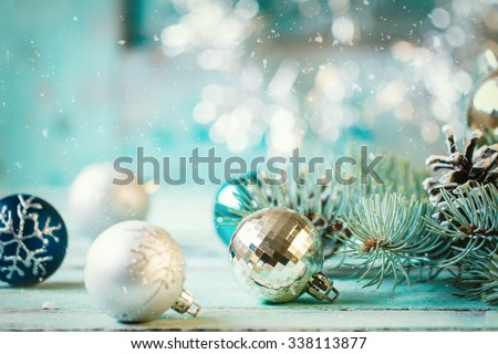 Christmas decoration on abstract background,vintage filter,soft focus Royalty-Free Stock Photo #338113877