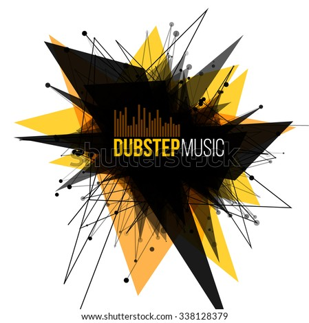 Abstract Dubstep Explosion Banner. Lines and Dots Connection Concept. Triangle banner. Vector illustration.