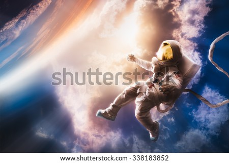 Astronaut floating in the stratosphere near a planet