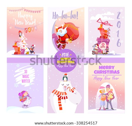 Big collection of cute christmas card templates.Winter collection.Printable cards set. Vector illustration #338254517