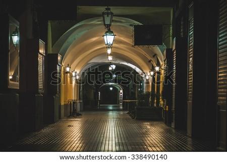 Arcade in the night